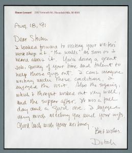 Elmore Leonard Letter